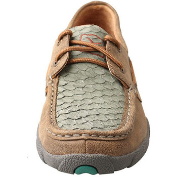 TWISTED X Womens Driving Bomber/Turquoise Fish Moccasins (WDM0067)