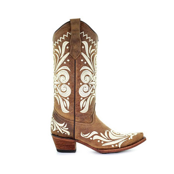 CORRAL Womens Tan Embroidery Boots (L5392-LD)