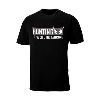 """WEBY Unisex """"Hunting Is Social Distancing"""" Black Hunting T-Shirt (HISD)"""