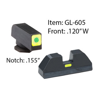 AMERIGLO Glock CAP Green Tritium LumiGreen Square Outline Front and Lime Green Line Rear Sights (GL-605)