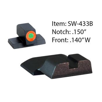AMERIGLO S&W Hackathorn Green Orange Outline Front and Black Rear Sights (SW-433B)