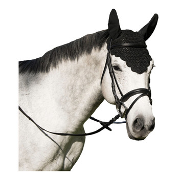 INTREPID INTERNATIONAL Ears And Scalloped Edge Black Horse Fly Veil (247155S)
