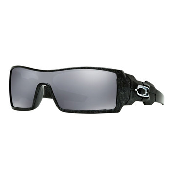 OAKLEY Oil Rig Polished Black Silver Ghost Text Frame/Black Iridium Lens Sunglasses (24-058)