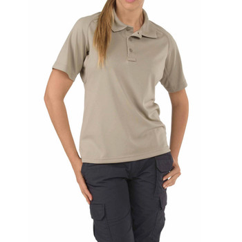 5.11 TACTICAL Womens Performance Silver Tan Short Sleeve Polo (5-61165-160-SILVER TAN-XL)