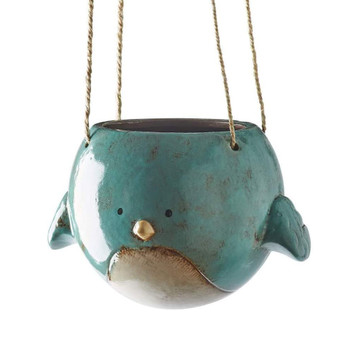 KALALOU Blue Ceramic Hanging Bird Planter (CDV1762)