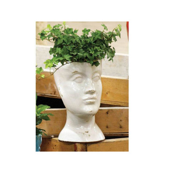 KALALOU White Ceramic Head Planter (CPH1206)