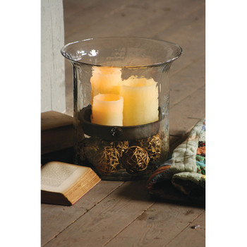 KALALOU Giant Glass Candle Cylinder With Rustic Insert (CV1060)