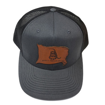 WEBY Richardson 112 Charcoal Grey/Black OSFA Trucker Hat with the Don't Tread on Me Motto in Leather (HAT-112-CHAR/BLK-DNTRED-LEATHER)
