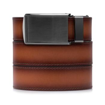 SLIDEBELTS Cognac Premium Leather Gunmetal Buckle Belt (COGNACGUN)