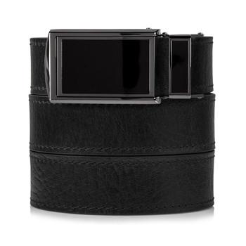 SLIDEBELTS Mens Top Premium Leather Black Buckle Black Belt (TOPGRAINBLACK-BLACK)