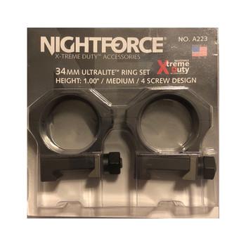 NIGHTFORCE XTRM Duty Ultralite 1in Medium 34mm 4 Screw Ring Set (A223)