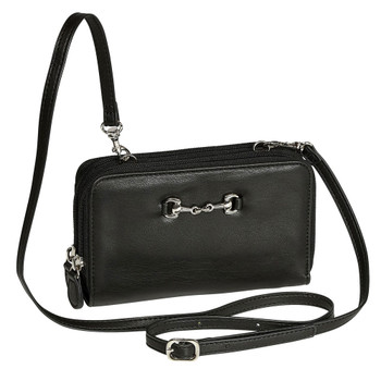 INTREPID INTERNATIONAL Cross Body Black Wallet Bag with Snaffle Bit (9344420)