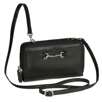 INTREPID INTERNATIONAL Cross Body Black Wallet Bag with Snaffle Bit (9344420)