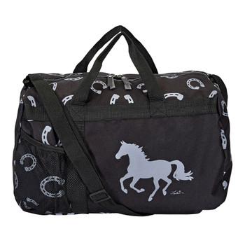 INTREPID INTERNATIONAL Black Lila Duffel Bag with Gray Horseshoes (934GG633GR)
