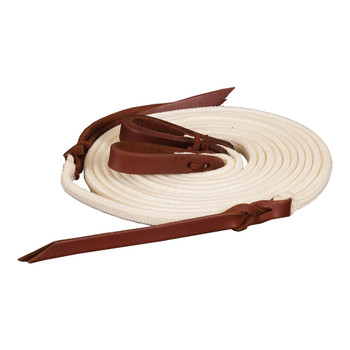 MUSTANG Poly Braid 1/2in x 8ft Flat With Leather Water Loop Tan Split Rein (8130)