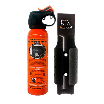UDAP Safety Orange 7.9oz Bear Pepper Spray w/ Plastic GrizGuard Holster (12SO)