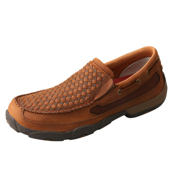 TWISTED X Men's Slip-On Oiled Saddle/Brown Driving Moccasins (MDMS017)
