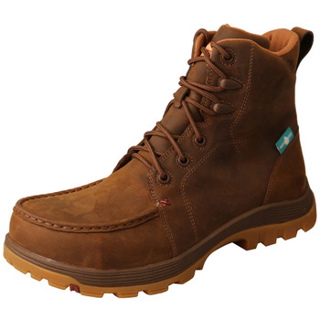 TWISTED X Men's Distressed Saddle 6in Work Oblique Toe Boot (MFSWNW1)