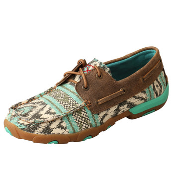 TWISTED X Women's Boat Shoe Multi/Bomber Driving Moccasins (WDM0133)