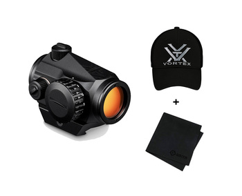 VORTEX Optics Crossfire Red Dot 2 MOA Sight with Logo Cap and Microfiber Cleaning Cloth
