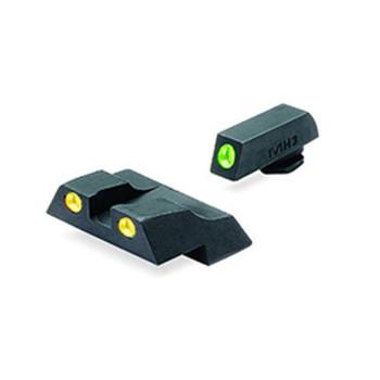 MEPROLIGHT Tru-Dot Tritium Fiber Optic Green,Yellow Front & Rear Iron Sight for Glock 26,27 (ML10226Y)