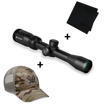 VORTEX Crossfire II 2-7x32mm Dead-Hold-BDC Reticle 1in Riflescope with Multicam Camo Cap and Microfiber Cleaning Cloth (VOR-CF2-31003+120-64-MUL+MF)