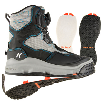 KORKERS Women's Darkhorse Grey/Aqua Fishing Boot with Felt and Kling-On Soles (FB2710)