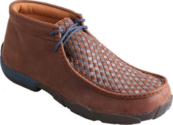 TWISTED X Mens Driving Brown/Blue Moccasins (MDM0030)