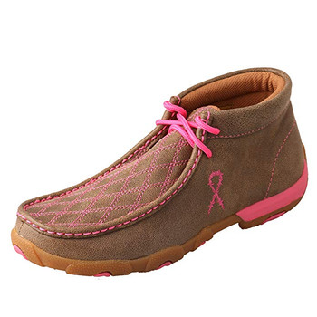TWISTED X Womens Driving Bomber/Neon Pink Moccasins (WDM0037)