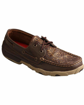 TWISTED X Womens Driving Brown/Emboss Flower Moccasins (WDM0070)