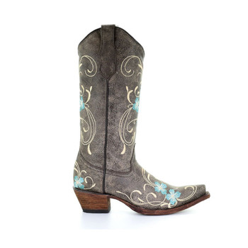 CORRAL Womens L5255 Brown/Turquoise Floral Embroidery Boots (L5255-LD)