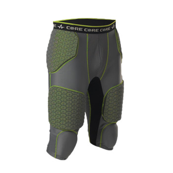 ALLESON ATHLETIC Youth Integrated 7 Padded Charcoal/Lime Football Girdle (7SIPGY-CHLI)