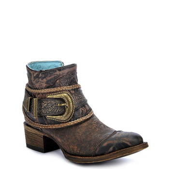 CORRAL Womens Floral Embossed Strap Shortie Brown Boots (A3123-LD)