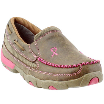 TWISTED X Womens Slip-on Driving Bomber/Neon Pink Moccasins (WDMS003)