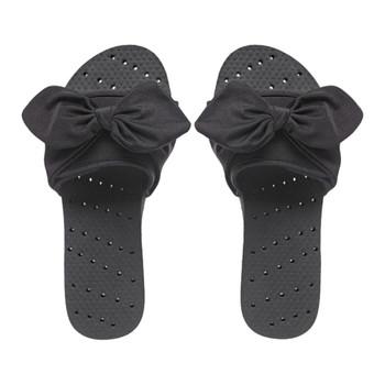 SHOWAFLOPS Womens Bow Slide Black Flip-Flops (2223)