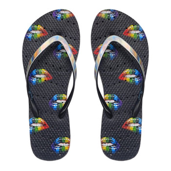 SHOWAFLOPS Womens Rainbow Lips Black/Hologram Flip-Flops (8002)