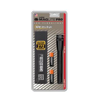 MAGLITE Mini PRO+ Black LED Flashlight w/ Holster (SP2PO1H)