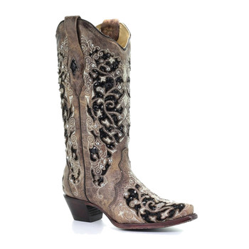 CORRAL Ashley Flowered Embroidery Brown Boot (A3569-LD)