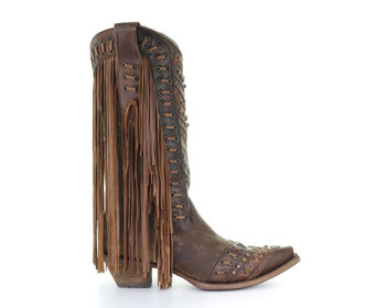 CORRAL Womens Mayela Woven and Fringe Brown/Tan Boots (C2986-LD)