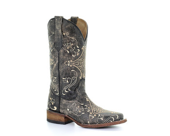 CORRAL Womens L5078 Brown Crackle/Bone Embroidery Boots (L5078-LD)