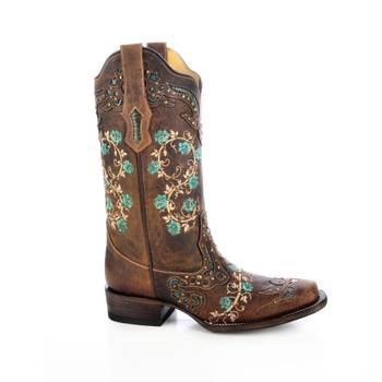 CORRAL Womens R1373 Brown/Turquoise Floral Embroidery Boots (R1373-LD)