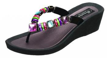 GRANDCO Women's Rainbow Wedge Black Thong Sandal (26462E-LD-BK)
