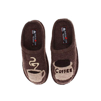 HAFLINGER Unisex Coffee Arch Support Earth Wool Slippers (313039-63)