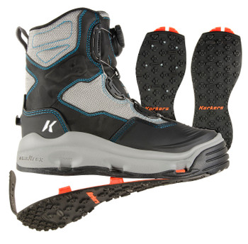 KORKERS Women's Darkhorse Grey/Aqua Fishing Boot with Kling-On and Studded Kling-On Soles (FB2720)