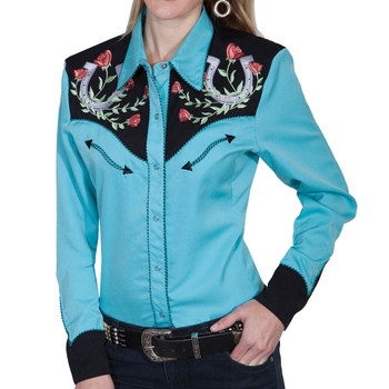 SCULLY Womens Western Apparel Turquoise Long Sleeve Shirt (PL-637-TUR)