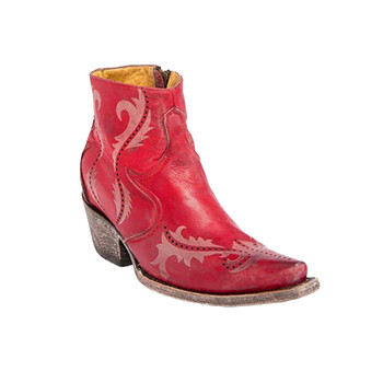CORRAL Womens Red Ruth Laser Ankle Boot (G1379-LD)