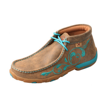 TWISTED X Womens Driving Bomber/Turquoise Moccasins (WDM0117)