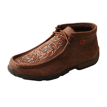 TWISTED X Womens Driving Brown/Tooled Flowers Moccasins (WDM0081)