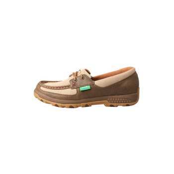 TWISTED X Womens Boat Shoe Bomber/Khaki Driving Moc with CellStretch (WXC0003)
