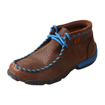 TWISTED X Kids Driving Brown/Blue Moccasins (YDM0027)